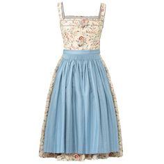 "Cream Lena Hoschek Dirndl ""Hemma"" with floral print and light-blue apron Dirndl Blouse, Blue Apron, Decorative Trim, Rock, Traditional Outfits, Pleated Skirt, Printed Cotton, Bodice, Light Blue"