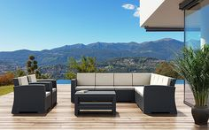 Le Mans Patio Sofa Collection | Offered in 3 colors | Optional Sunbrella cushions