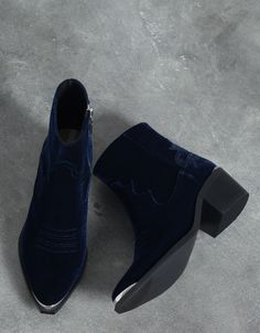 Bershka velvet ankle boot - Shoes - Bershka Switzerland