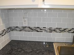 Astounding Glass Subway Tile Backsplash Picture And Kitchen Decoration Inspiration With Glass Mosaic Tile Kitchen Backsplash Ideas And Modern White Cabinet Doors Sink Stylish Glass Subway Tile Backsplash For Modern Kitchen