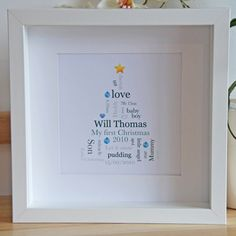 Personalised, bespoke Baby's First Christmas framed artwork