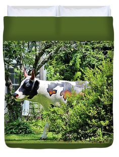 Cow Duvet Cover featuring the photograph Cow Statue by Cynthia Guinn