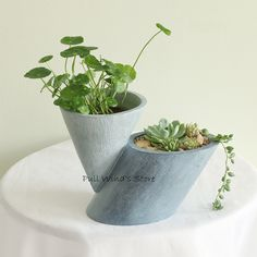 Creative imitation cement geometric landscape flower pot Pastoral Resin with a hole Planters