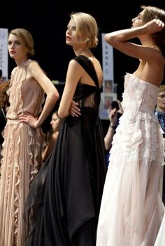 Backstage at Christian Dior Spring/Summer 2012 RTW during Paris Fashion Week.