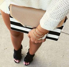 CITY SLIM CLUTCH - BLACK/CREAM CLEAN STRIPE  Grab this envelope clutch to complement your fav dress or dress it down and wear it cross body by adding our Versatile Chain in silver that also doubles as a necklace! Toss in your cash, cards and lip gloss and you're ready for a chic outing!  https://www.stelladot.com/sites/SarahMock