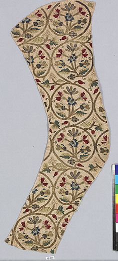 Date:     late 16th or early 17th century Culture:     British Medium:     Silk and metal thread on linen Dimensions:     L. 21 3/4 x W. 7 1/4 inches (55.2 x 18.4 cm)