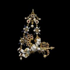 Renaissance Flying Cupid Pendant Material:Gold, Silver, Diamond, Sapphire, Ruby, Pearl, Enamel