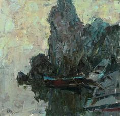 "Saatchi Art Artist Aleksandr Kryushyn; Painting, ""Morning on the dock"" #art"