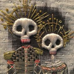 Tilte unknown (day of the dead?) by embroidery artist Kate Walsh of fearsome beast. via the artist on twitter
