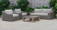 Renava Palisades Outdoor Beige Wicker Sofa Set - VIG Furniture the breezy and laid-back feel in your patio or den with the Renava Palisades Outdoor Beige Wicker Sofa Set. Sporting an aluminum frame and wrapped in poly rattan wicke Wicker Headboard, Rattan Sofa, Wicker Chairs, Wicker Bedroom, Wicker Couch, Wicker Trunk, Wicker Table, Wicker Baskets, Patio Furniture Sets
