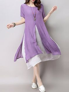 Women Casual Dress Crew Neck A-line Daily Short Sleeve Solid Dress