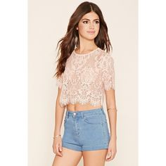 Forever21 Sheer Lace Crop Top ($13) ❤ liked on Polyvore featuring tops, light pink, pink top, cut-out crop tops, forever 21 tops, sheer lace crop top and sheer lace top