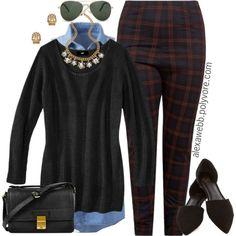 """#plus #size #fashion """"Plus Size - Tartan Pants"""" by alexawebb on Polyvore"""