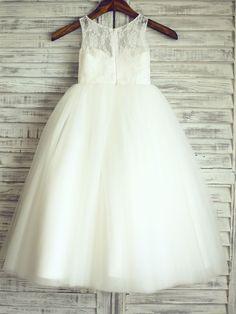 Princess Ivory Floor-length Flower Girl Dress - Lace/Tulle Sleeveless - USD $ 54.99