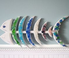 beach decor sea glass fish wall hanging - nautical beach glass fish   $64