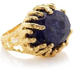 Ottoman Hands One Stone Lapis Grip Ring- Gold/Blue ($52) ❤ liked on Polyvore featuring jewelry, rings, blue, blue ring, gold stone rings, blue gold ring, stone ring and band rings
