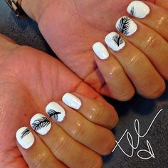 Clean and simple feather nails