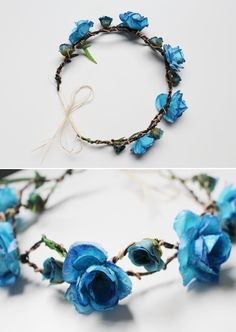 coroa de flores                                                                                                                                                                                 Mais How To Make Headbands, Head Accessories, Wedding Accessories, Kanzashi, Circlet, Floral Headbands, Crown Hairstyles, Floral Crown, Girly Things