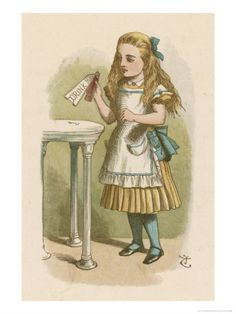 """Alice Holds the Bottle Which Says """"Drink Me"""" on the Label - By John Tenniel"""