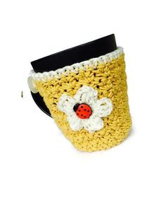 Mug Cup Cozy Cotton Crochet Yellow White Flower by MimisPearTree