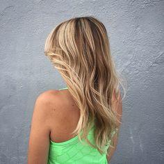 Balayage freehand sunkissed highlights by Stephanie || Salon Bordeaux, San Diego Ca #beachblonde