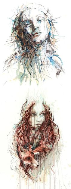 Tea, Vodka, Whiskey and Ink Portraits by Carne Griffiths: