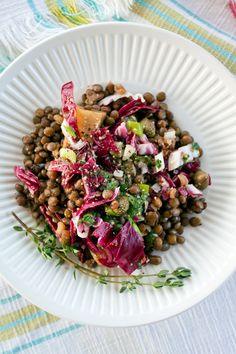 french lentil, radicchio, golden beet salad