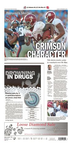 The Montgomery Advertiser Front Page Alabama 48 Ole Miss 43 #BAMAvsMISS #Alabama…