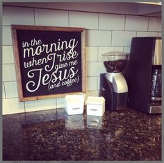Coffee & Jesus sign by OneLittleOwlBoutique on Etsy Coffee Theme Kitchen, Coffee Room, Coffee House Decor, Coffee Coffee, Kitchen Themes, Kitchen Decor, Kitchen Ideas, Coffee Signs, Diy Signs