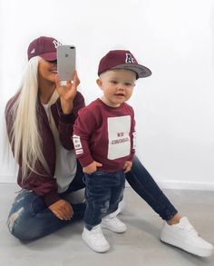 Mother Son Matching Outfits, Mom And Son Outfits, Baby Boy Outfits, Kids Outfits, Outfits Madre E Hija, Baby Girl Fashion, Fashion Kids, Mommy And Son, Kid Styles
