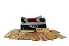 Giant Dominoes - Very large wooden dominoes - Great for outdoor play or leave them on a shelf for decoration.  Full set of 28 giant dominoes in a nylon carrying bag.