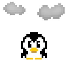 天気実況大阪曇り #pixelart #penguin #weather #osaka #ドット絵 #ペンギン #天気 #大阪