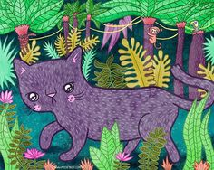 Bagheera. Jungle foliage and creeping panthers are fun to draw!  Last illustration for The Jungle Book. #illustratedbookclub