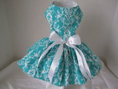 Dog Dress XS Aqua With White By Nina's by NinasCoutureCloset, $30.00
