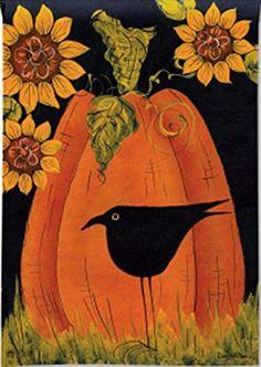 Itu0027s Fall Pumpkin Crow Sunflowers Primitive Country Standard House Flag  28inx40i