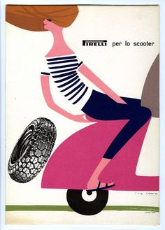 Swiss ad for Pirelli Tyres, 1928   Designed by Swiss illustrator Lora Lamm (Arosa)