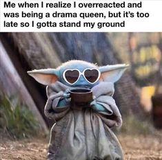 Really Funny Memes, Funny Relatable Memes, Funny Jokes, True Memes, Funny Stuff, Very Funny Pics, Yoda Meme, Yoda Funny, Funny As Hell