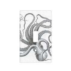 Nautical steampunk octopus vintage kraken antique light switch plates