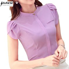Summer elegant women short sleeve shirt OL career stand collar chffon blouse tops ladies office business plus size work wear Sleeves Designs For Dresses, Dress Neck Designs, Blouse Designs, Formal Tops For Women, Formal Wear Women, Indian Maternity Wear, Mode Outfits, Fashion Outfits, Stylish Dresses For Girls
