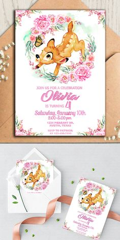 Pink Fawn Birthday Invite, Birthday Invitation, Baby Bambi Deer Birthday Invite, Forest Creature Invite, Cute Birthday Invite First Birthday Girl First Birthday, Baby Birthday, First Birthday Parties, First Birthdays, Birthday Nails, Birthday Ideas, Bambi, First Birthday Invitations, Baby Shower