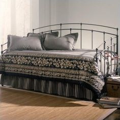 Fashion Bed Fenton Metal Daybed in Black Walnut Finish with Pop-Up Trundle