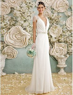 Sheath / Column V Neck Sweep / Brush Train Chiffon / Sheer Lace Made-To-Measure Wedding Dresses with Crystal / Button by LAN TING BRIDE / Illusion Sleeve / See-Through