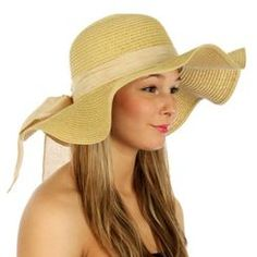Beige Wave Brim Paper Floppy Beach Hat