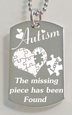 Engraved Autism Love Dog Tag necklace with by PersonalizedMetals, $10.50