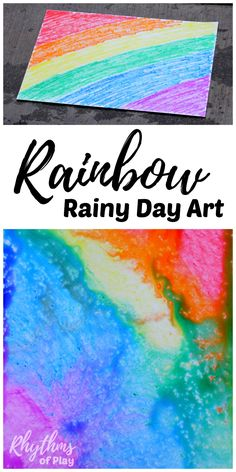 Rainbow rainy day art is a simple art and science STEAM project for kids. Toddlers, Preschoolers and kids of all ages will enjoy this creative learning activity. No rain? Click through to find out how to try rainy day art using another easy method.