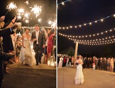 Nothing like an outdoor wedding reception under the bulb lights and a sparkler send-off! #MarieeAmi #Weddings #LuckyPhotography