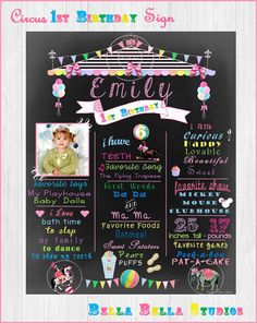 CIRCUS Girl BIRTHDAY CHALKBOARD POSTER - BACKDROP Printable by Bella Bella Studios ~ customized for your sweet celebration! Simply print as many times as needed. #carousel #horse #chalkboard #poster #sign #custombackdrop #custom #printable #partyprintables #diy #customcircus #art #keepsake #circushorse #seal #balloons #customdesigns #allaboutmeposter #chalkboardsign #chalkboardposter #circusthemepartyideas #bellabellastudios