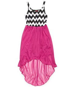 Ruby Rox Girls' Chevron-Print High-Low Dress - Kids Girls 7-16 - Macy's