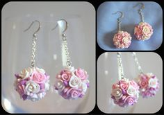 Rose Earrings Dangle Flowers Pink White Purple by AlexaGreg, $25.00