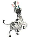 Personaje de dibujos animados de la cebra del salto de la diversión Fotos de archivo